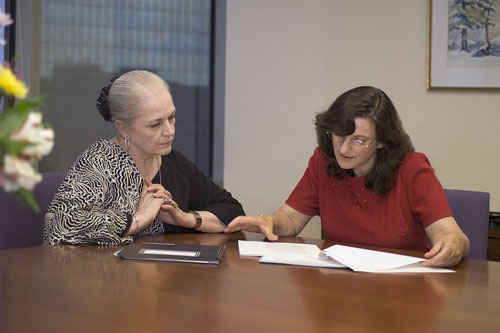 Ms. Aaronson and a client discuss estate administration